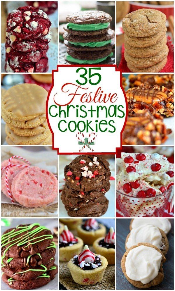 35 Festive Christmas Cookies for your holiday entertaining needs! Peppermint, chocolate, ginger and more! All the fabulous flavors of the holiday season!| MomOnTimeout.com  | #roundup #christmas recipe #dessert #spon