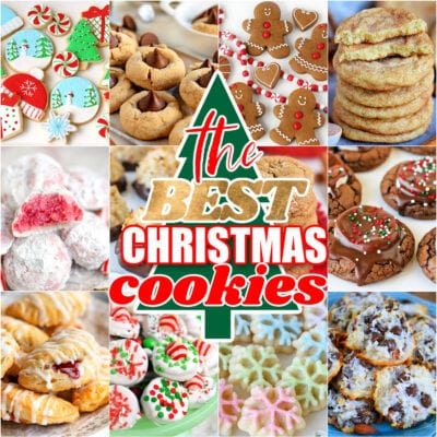 collage of 20 christmas cookies with the best Christmas cookies text overlay on top of a tree