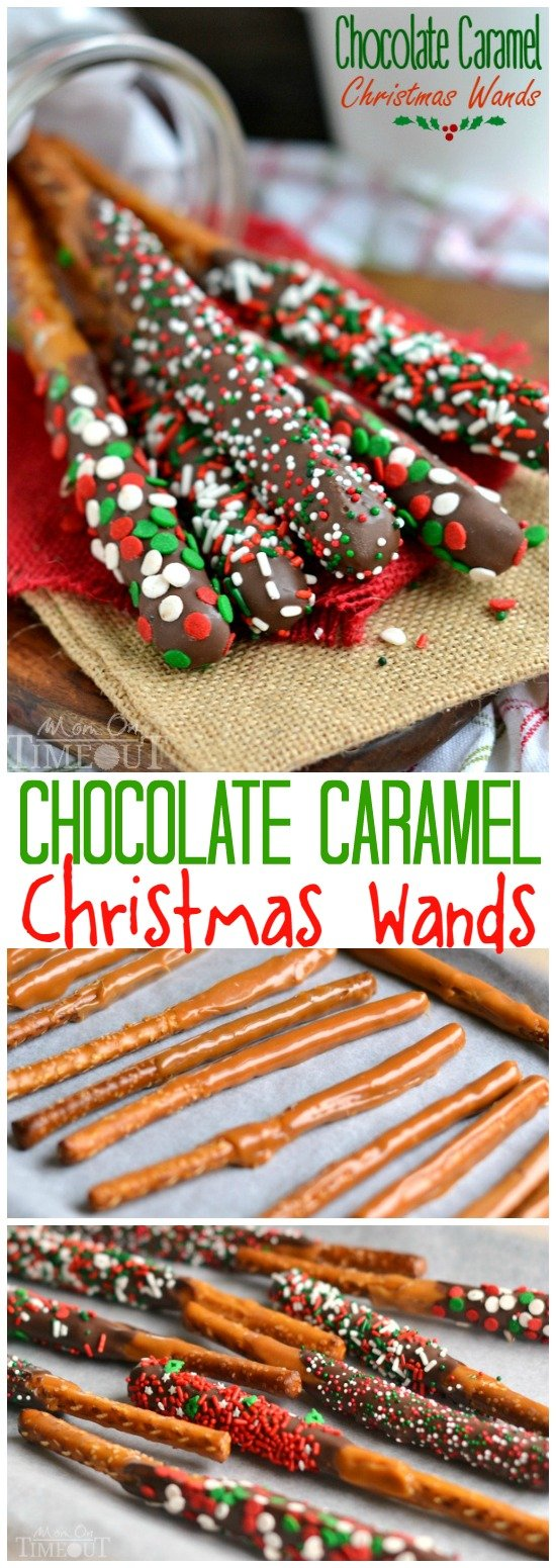 These Easy Chocolate Caramel Christmas Wands are a breeze to make and look perfectly festive! Great for gift giving, parties, and more! | MomOnTimeout.com | #Christmas #Dessert #recipe #spon
