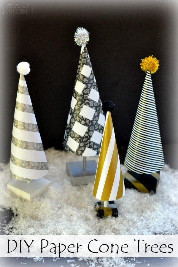 Create a festive forest this holiday season with these easy DIY Paper Cone Trees! | MomOnTimeout.com | #craft #Christmas #MakeAmazing #spon