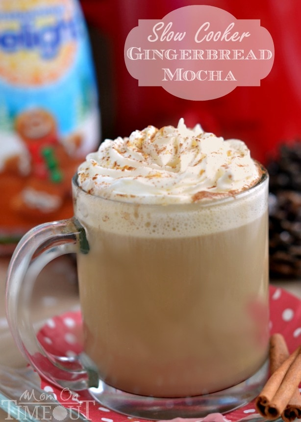 A delicious holiday beverage made right in your slow cooker! This Slow Cooker Gingerbread Mocha tastes just like cookies...but better! | MomOnTimeout.com | #beverage #drink #Christmas #crockpot #IDelight #spon