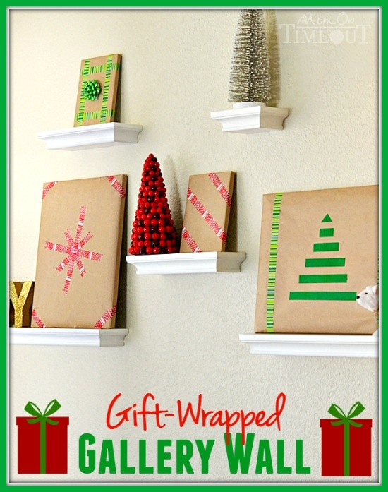 This Gift Wrapped Gallery Wall is the perfect way to bring your gallery wall to life this holiday season! | MomOnTimeout.com | #christmas #craft #MakeAmazing #spon