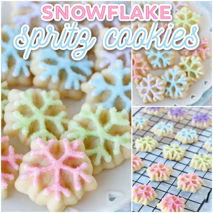 decorated spritz cookies in snowflake design with pastel colors