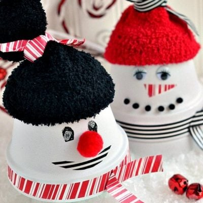 Adorable Clay Pot Snowman