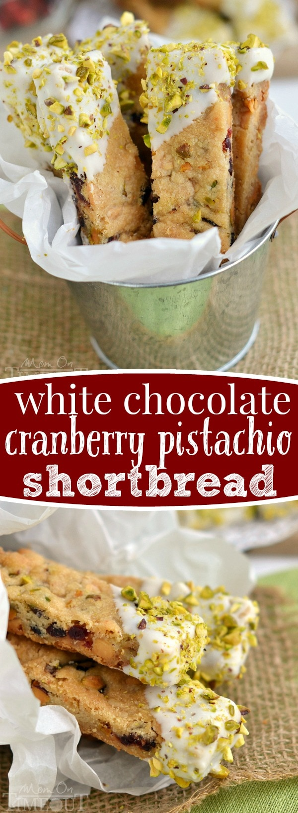 White Chocolate Cranberry Pistachio Shortbread is the prettiest treat you'll make this holiday season! Easy to make, these shortbread sticks are perfect for cookie trays and gifts.