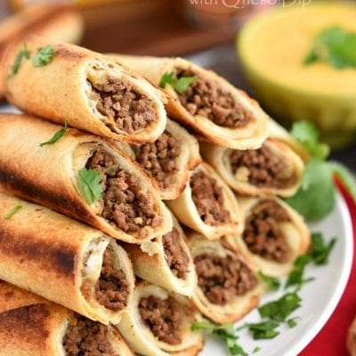 Baked Beef Flautas with Queso Dip