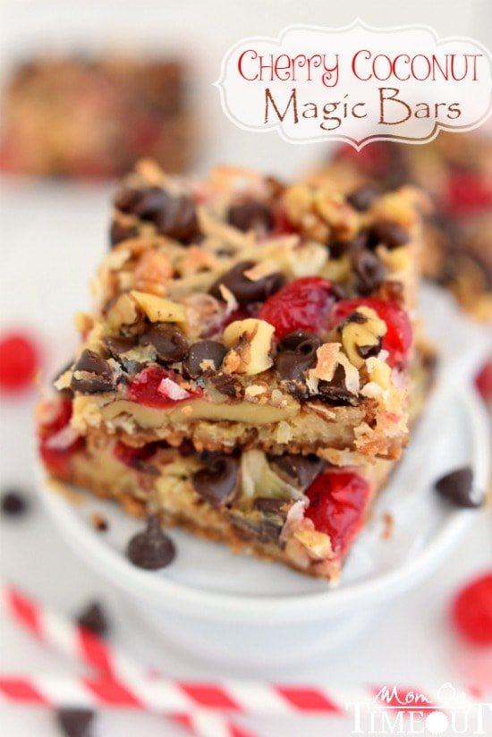 Cherry Coconut Magic Bars! If you love cherries, chocolate, and coconut together like I do - prepare for true bliss! | MomOnTimeout.com | #recipe #cherry #coconut #dessert #chocolate
