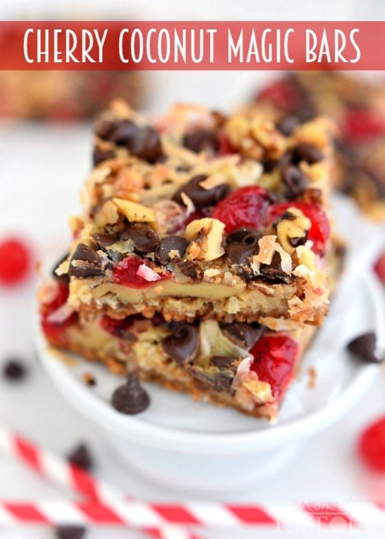 Cherry Coconut Magic Bars! If you love cherries, chocolate, and coconut together like I do - prepare for true bliss!   MomOnTimeout.com   #recipe #cherry #coconut #dessert #chocolate