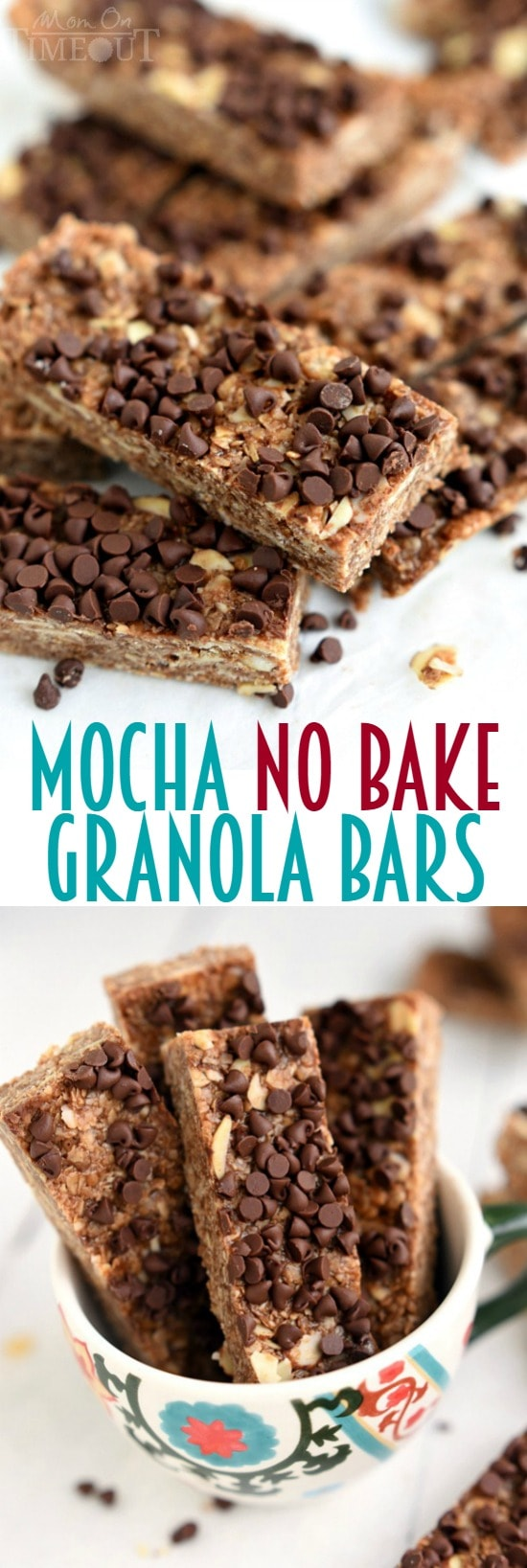 These Mocha No Bake Granola Bars are perfect for a grab-and-go breakfast or an afternoon pick-me-up snack! | MomOnTimeout.com | #breakfast #snack #recipe #chocolate #mocha