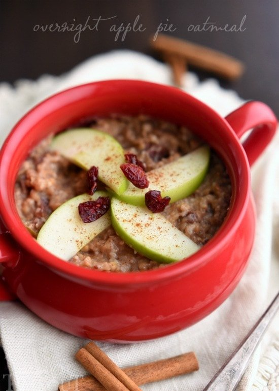 slow cooker oatmeal with apples and cranberries