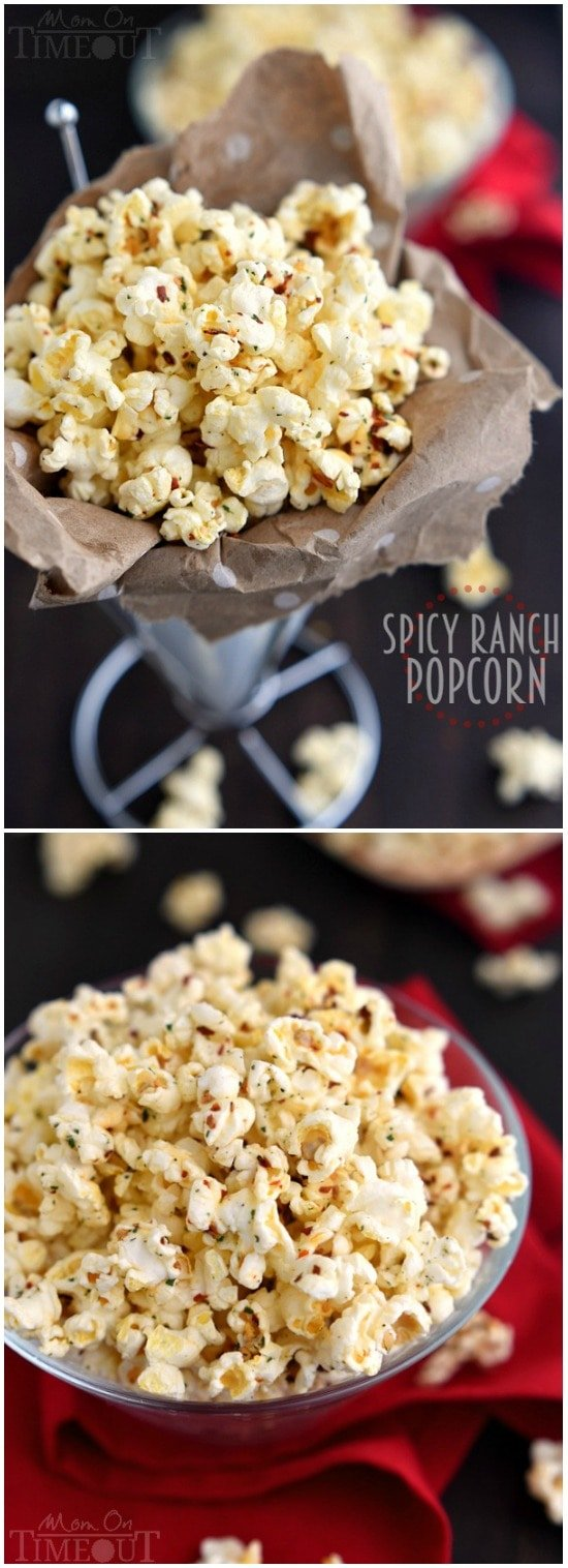 You're just four ingredients away from snacking paradise with this delicious Spicy Ranch Popcorn! So addicting, this delightfully easy recipe is sure to become a new family favorite!   MomOnTimeout.com   #appetizer #snack #recipe