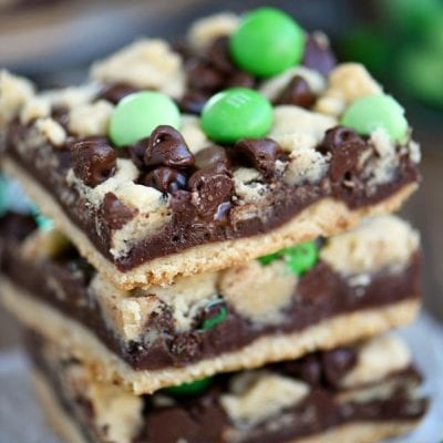 Chocolate Mint Fudge Crumb Bars