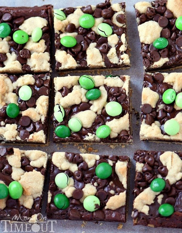 Indulge in these outrageously decadent Chocolate Mint Fudge Crumb Bars for the ultimate chocolate and mint treat! | MomOnTimeout.com | #recipe #dessert #chocolate #mint