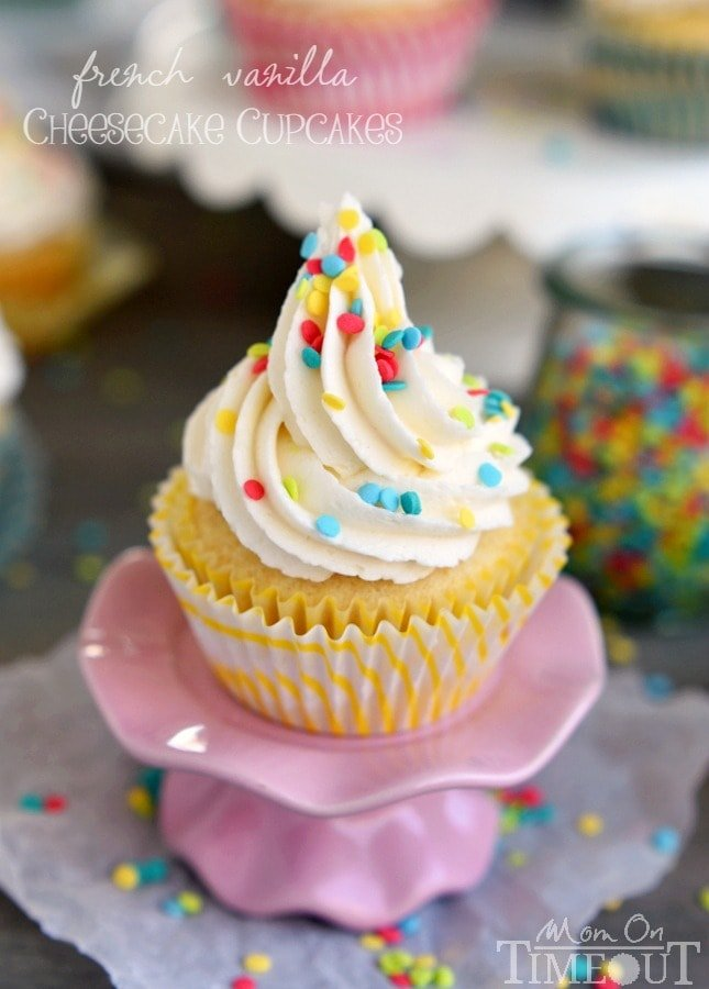 How about French Vanilla Cheesecake Cupcakes for the dessert win? It's like two desserts in one! Cheesecake filling is nestled inside a delicious vanilla cupcake and topped with the most delicious vanilla frosting ever - don't forget the sprinkles!