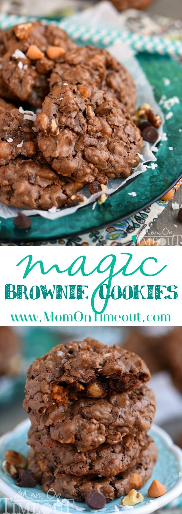 These Magic Brownie Cookies are packed full of flavor - coconut, butterscotch, walnuts, and of course, CHOCOLATE! This easy to make dessert will be a hit at your next party - no one can eat just one! | MomOnTimeout.com