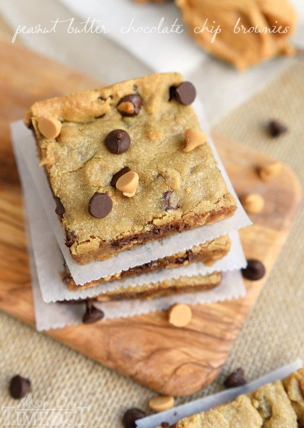 Perfectly moist, decadent, and fudgy, these sinful Peanut Butter Chocolate Chip Brownies will redefine your love for peanut butter. | MomOnTimeout.com