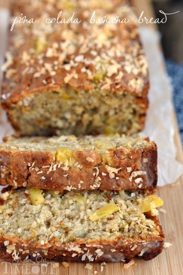 ... banana bread studded with sweet pineapple and flaky coconut and topped