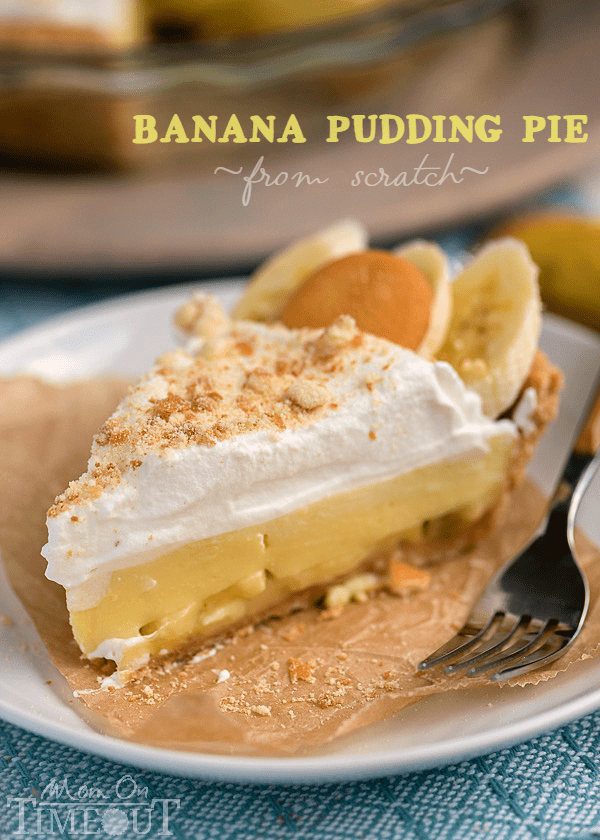 This Easy Banana Pudding Pie recipe is made totally from scratch! Perfect for picnics, potlucks, and all your gatherings all summer long! | MomOnTimeout.com
