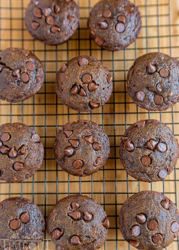 Double Chocolate Banana Applesauce Muffins are perfect for those days when you wake up with a chocolate craving. Easy, delicious and made without oil, butter, or eggs. The perfect breakfast or brunch recipe!| MomOnTimeout.com | #vegetarian #vegan