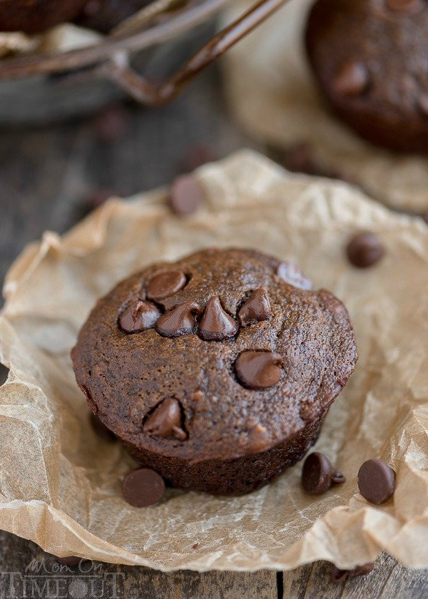 Double Chocolate Banana Applesauce Muffins are perfect for those days when you wake up with a chocolate craving. Easy, delicious and made without oil, butter, or eggs. | MomOnTimeout.com