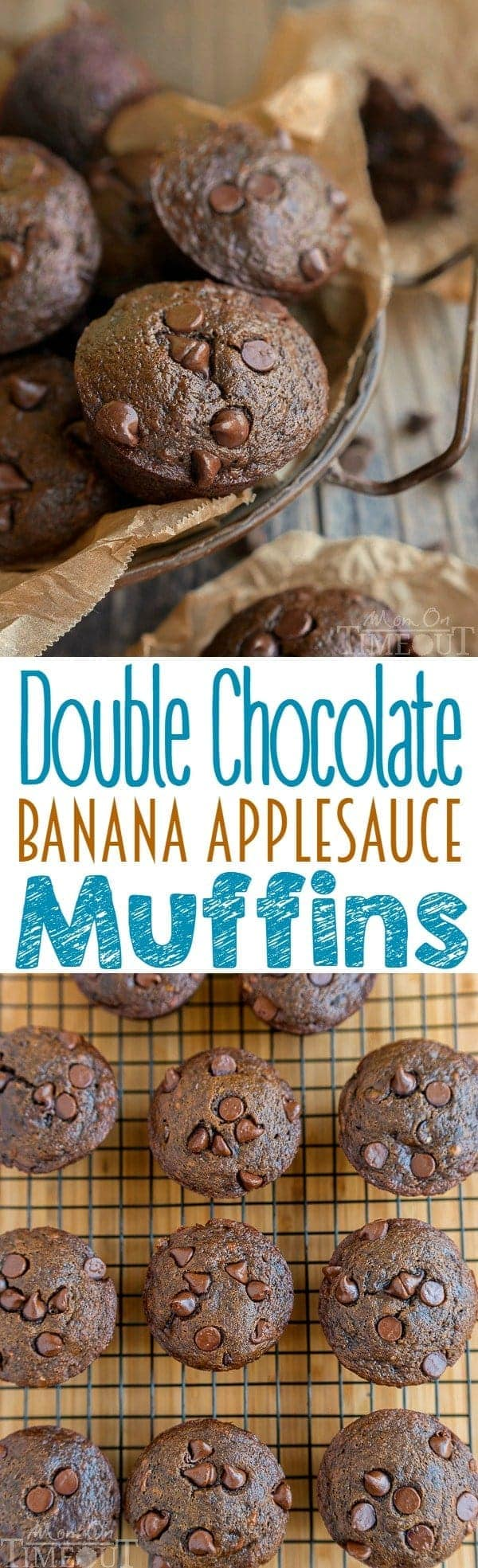 Double Chocolate Banana Applesauce Muffins are perfect for those days when you wake up craving chocolate. Easy, delicious and made without oil, butter, or eggs. The perfect breakfast or brunch recipe! // Mom On Timeout