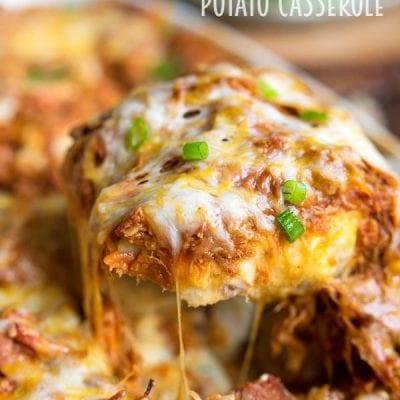 Loaded BBQ Pork Potato Casserole