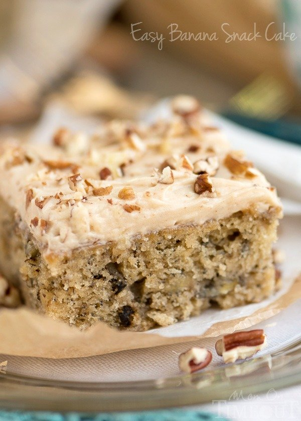 Easy Banana Snack Cake with Brown Butter Maple Cream Cheese Frosting - just the recipe you were looking for to use up those ripe bananas! An easy and delicious dessert recipe! | MomOnTimeout.com