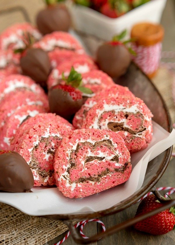 chocolate covered strawberry rice krispies treats pinwheels are the perfect treat for your next party or