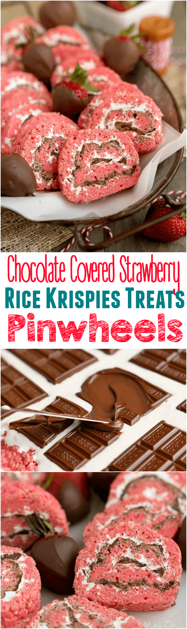 Chocolate Covered Strawberry Rice Krispies Treats Pinwheels are the perfect treat for your next party or picnic! Pretty and pink and so yummy to eat, this easy dessert is guaranteed to become a new family favorite! // Mom On Timeout