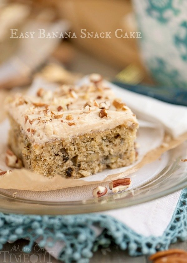 banana cake recipe topped with cream cheese frosting and nuts
