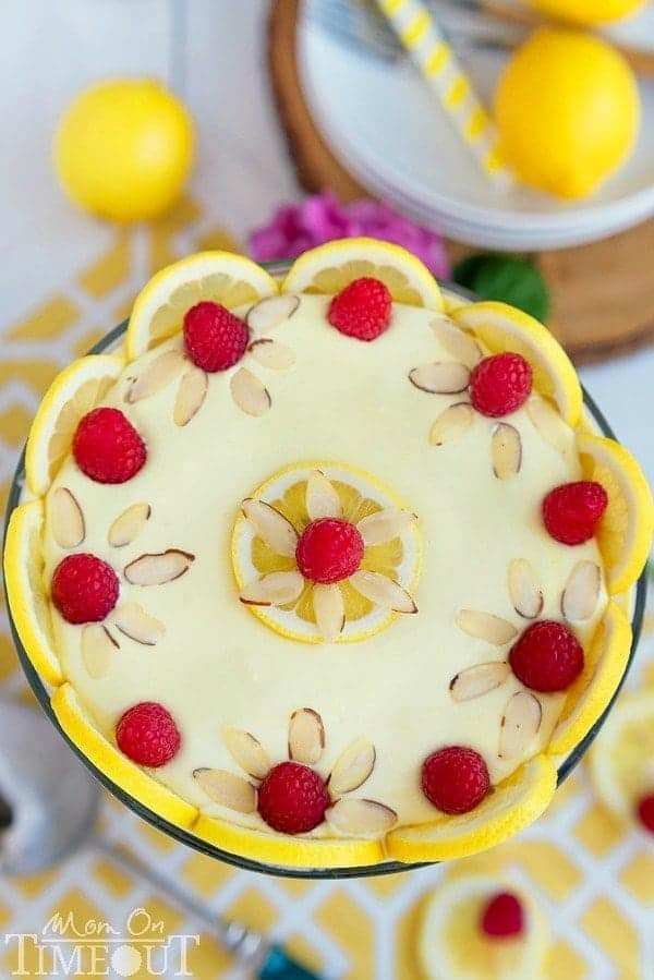 This Skinny Lemon Raspberry Cheesecake Trifle takes just 10 minutes to prepare and tastes like summer! The perfect easy dessert recipe for any occasion!   MomOnTimeout.com