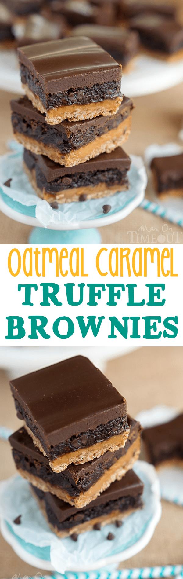 Oatmeal Caramel Truffle Brownies - Mom On Timeout