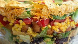 Layered Popcorn Shrimp Taco Salad + GIVEAWAY!