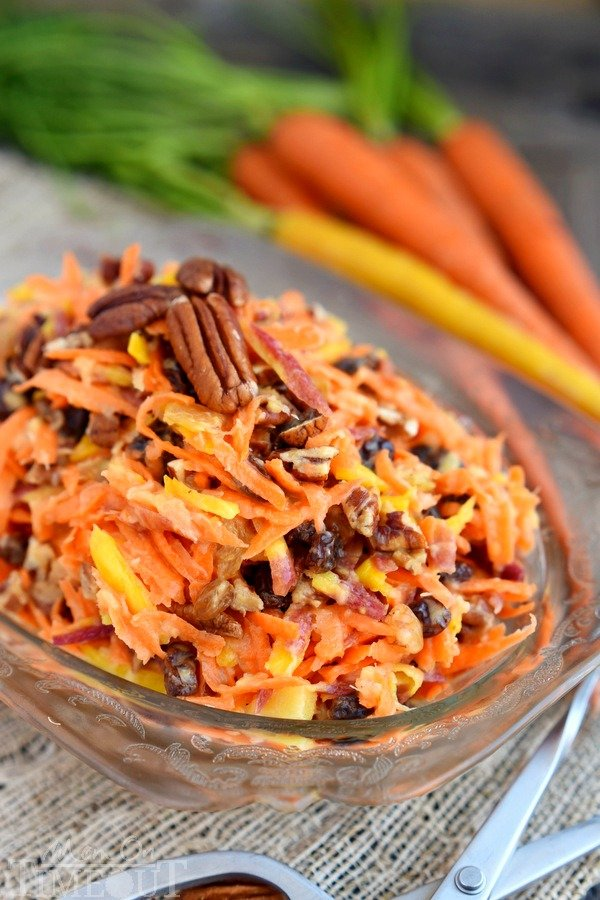 This easy 5 Minute Rainbow Carrot Pecan Salad is a breeze to prepare and is the perfect addition to any meal! Perfectly sweet and refreshing, this easy salad recipe is one we enjoy all summer long!   MomOnTimeout.com
