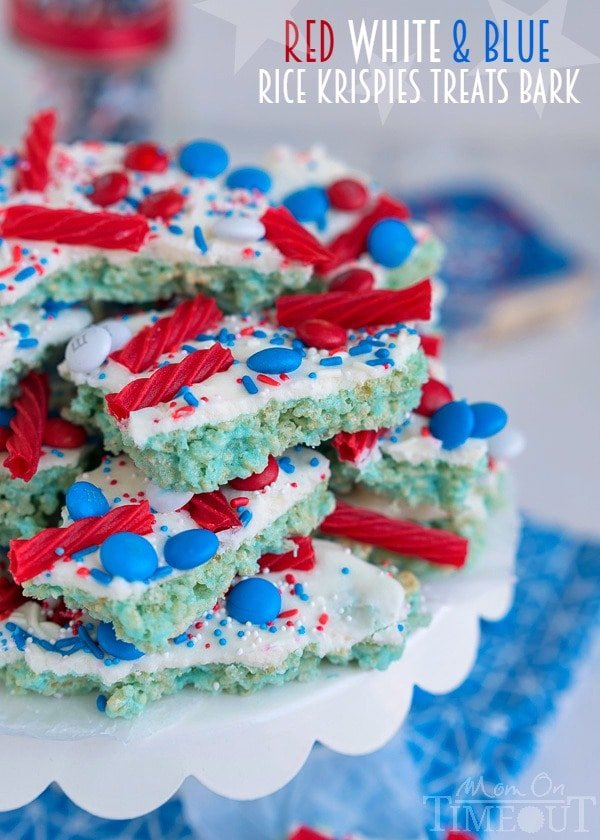 These sweet treats are sure to satisfy everyone! Colorful and festive, this Red White and Blue Rice Krispies Treats Bark is the perfect no-bake treat to celebrate with! | MomOnTimeout.com | #4thofjuly #laborday #memorialday