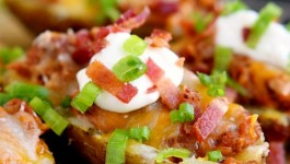 Fully Loaded Grilled BBQ Pork Potato Skins