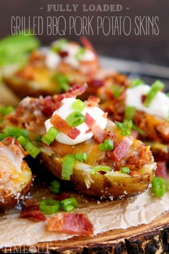 Barbecue Steak and Stuffed Potato Skins Recipe - Great ...