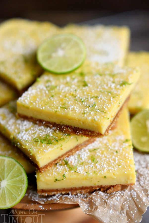 key lime pie bars close up cut and ready to serve