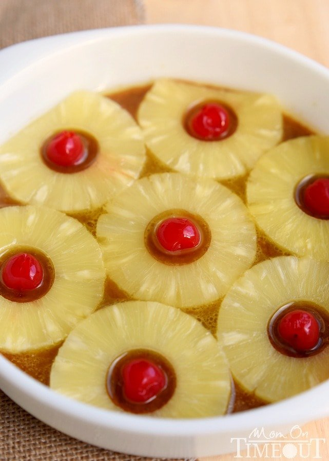 microwave-pineapple-upside-down-cake-pineapples
