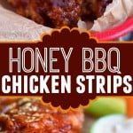 two image collage of honey bbq chicken strips in red basket and one with a bite taken. center color block with text overlay.