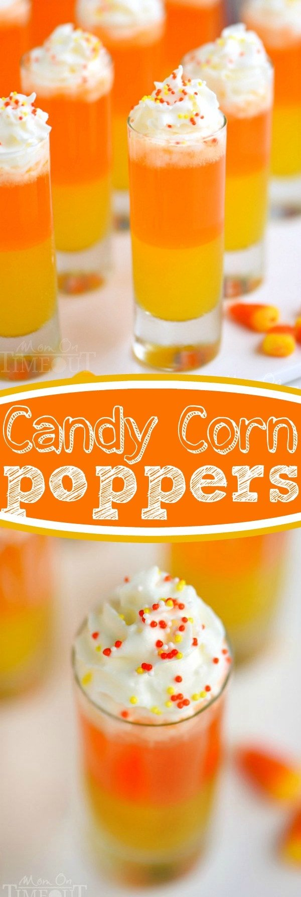 These Candy Corn Poppers are the perfect sweet drink for kids of all ages! Super easy to make and so fun too! This layered drink is impressive and EASY! // Mom On Timeout