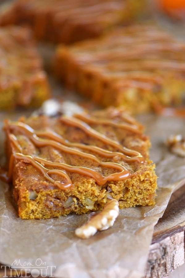 This easy, one bowl Caramel Pumpkin Blondies recipe is the perfect way to satisfy those deep pumpkin cravings! This fantastic recipe feeds a crowd and will make an impressive dessert on your holiday table!