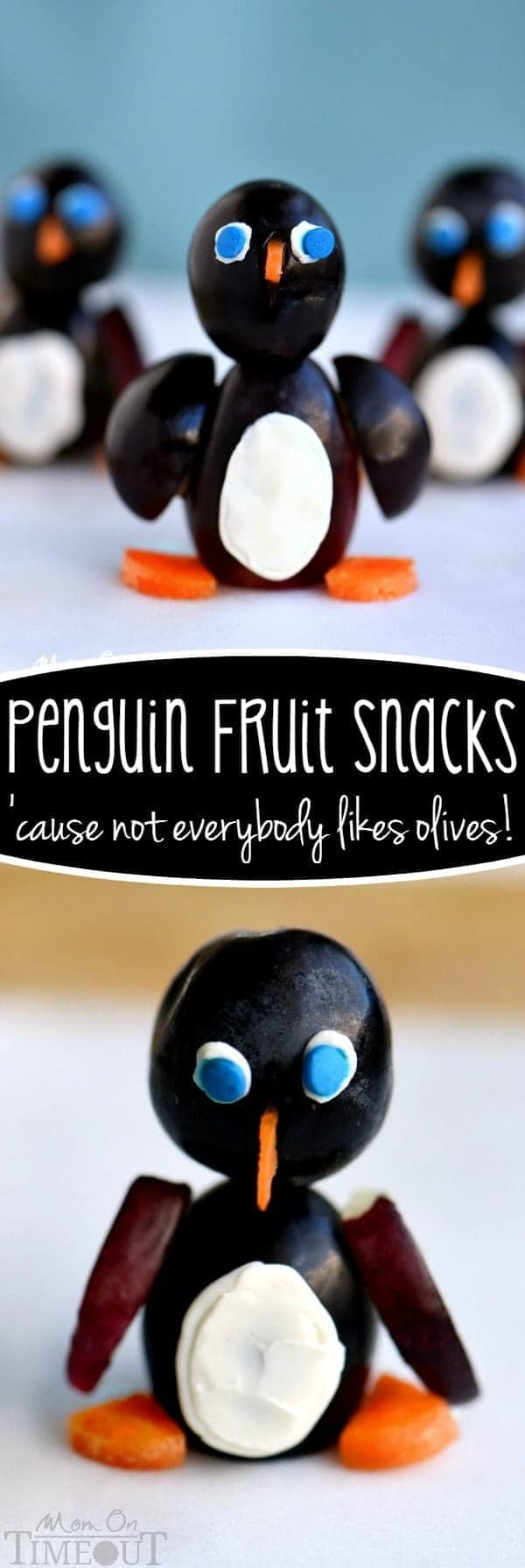 Because not everyone likes olives.... These fun Penguin Fruit Snacks are guaranteed to get a smile from your little one! Made with grapes, cream cheese and carrots!