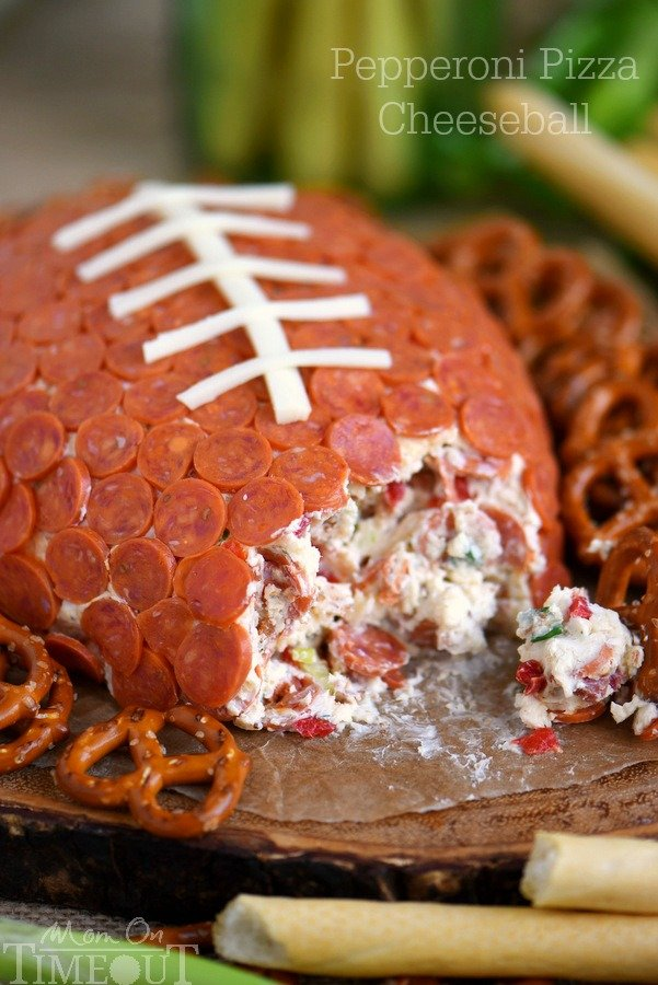 Pepperoni Pizza Football Cheese Ball {Mom on Timeout}