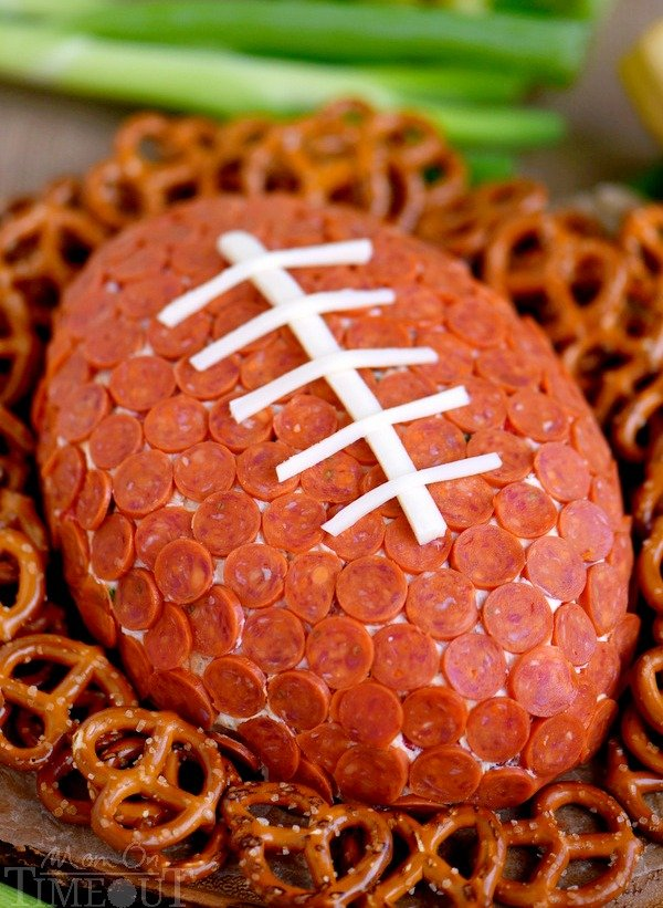 Pepperoni Pizza Football Cheese Ball - Mom On Timeout