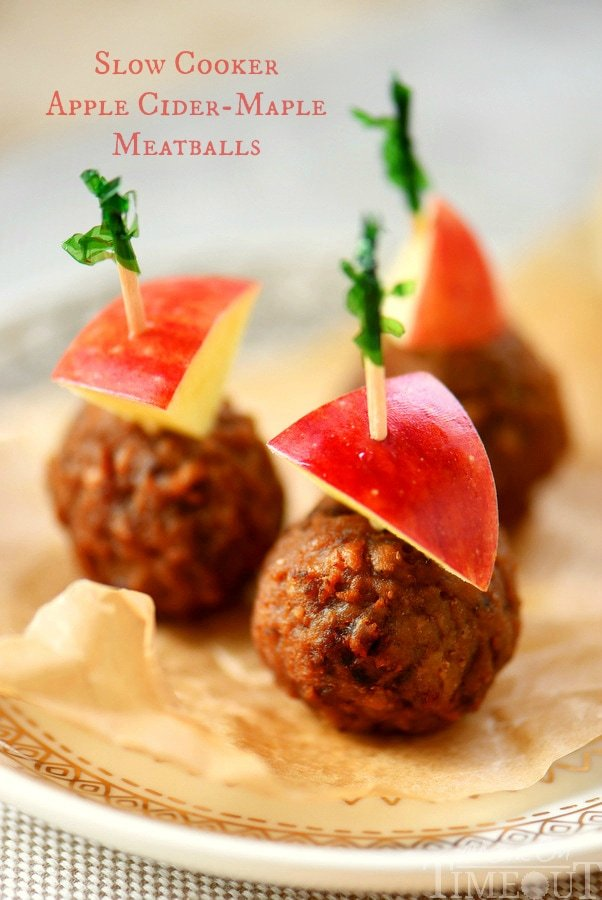 Easy Slow Cooker Apple Cider Maple Meatballs have all the flavors of fall in a tasty little package! Perfect for your next game day celebration!