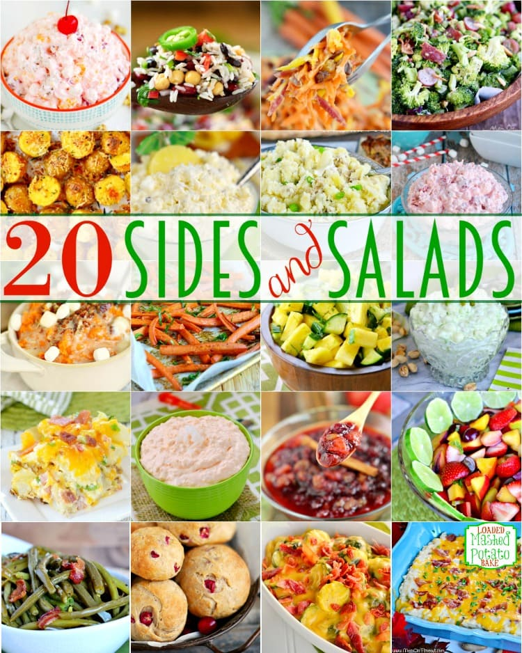 20 Easy Sides and Salads!  Putting on a large holiday meal for the family can be intimidating. It's difficult enough just trying to manage the main dish, drinks, and desserts. And then you have to think of side dishes too! Here are twenty of my favorite side dishes and salads to serve during the holidays - or anytime!