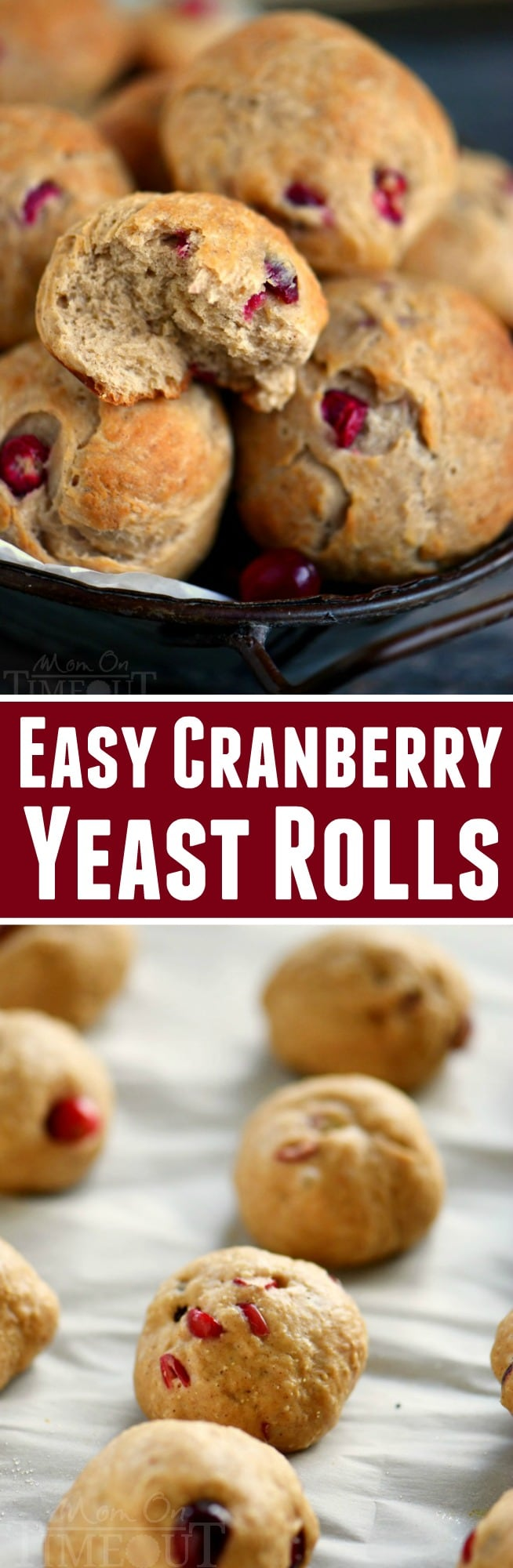 These Easy Cranberry Yeast Rolls are the perfect addition to your holiday meal! Packed with fresh cranberries and seasoned with pumpkin pie spice, it's a winning combination that is sure to please. They can even be made ahead of time!