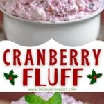2 image collage with center color block and text overlay top image cranberry fluff in white bowl garnished with cranberries and mint and bottom image is a close up of the fluff