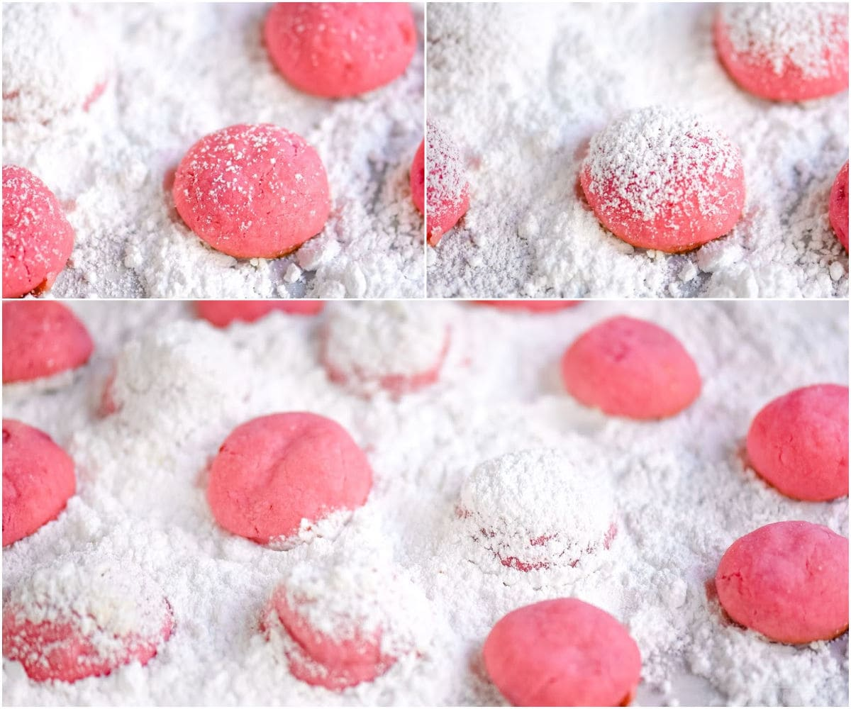 snowball cookies in a three image collage showing how to roll in powdered sugar
